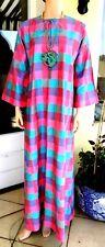 Jim Thompson True vintage 100% silk soie túnica caftán dress vestido Siam kimono