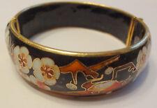 Antique Mark Silver Asian Japanese Cloisonne Flowers Bird Satsuma Bracelet