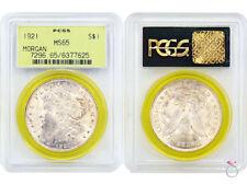 1921 $1 MORGAN Silver Dollar PCGS MS65 Bright