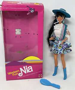 1989 Suncharm Barbie Nia Foreign Western Fun Doll Open Box Displayed Only