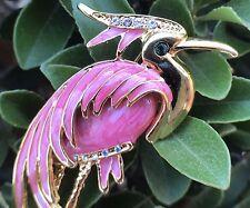Bird Animal Crystal Rhinestone Enamel Brooch Gold Tone Pin Women Fashion Jewelry