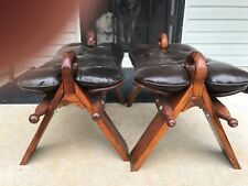 Pair of Vintage Moroccan Brown Camel Saddle Stools Footstools Ottomans