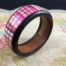Pink Wood Bone Horn Bangle Bracelet Check Hand Made in India White Black Summer