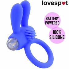 NEW Vibrating Silicone Rabbit Ring Cock/Penis Blue - Batteries Included!