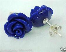 Beautiful Blue jade Rose Flower Silver Stud Earrings