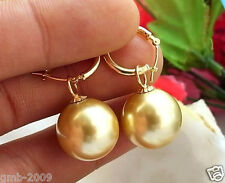 Rare Huge 12mm Tahitian Gold South Sea Shell Pearl Dangle Hoop Earring