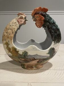French Barbotine Majolica Art Nouveau Edouard Gilles Paris Chicken Rooster Bowl