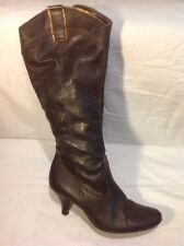 Barratts Brown Knee High Leather Boots Size 40