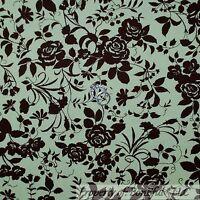 BonEful Fabric FQ Cotton Quilt VTG Green Brown Flower Rose Victorian Shabby Chic