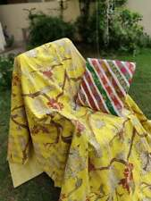 indian Handmade cotton Kantha floral Print Throw Blanket Boho Quilt -Beautiful