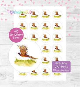 Pheasant Stickers, 48 Round Labels, For Envelope Seals/Party Bags/Favours/Gifts