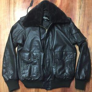 Vintage Wilson Leather Aviator Bomber Jacket Men's 38 Brown Faux Fur collar Coat