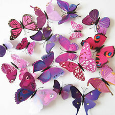 NEW 12 Pcs Purple Red 3D Butterfly Art Design Wall Stickers Home Decor