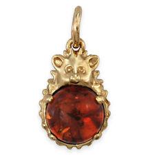 Solid 9ct Gold Natural AMBER HEDGEHOG Pendant or Charm (Handmade UK)