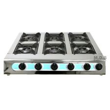 """Stove 6 Head Burner 28"""" Countertop Outdoor Camping Stainless Steel Propane Gas"""