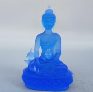 Tibetan Buddhism blue coloured glaze Medicine Buddha Statue