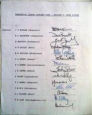 England V West Indies 1980 TROFEO prudenziale – Cricket Ufficiali AUTOGRAFO Foglio