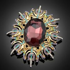 Colorful Big Purple Crystal Rhinestone Vintage Flower Women Fashion Brooch Pins