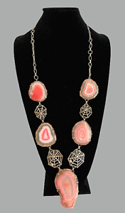 Large 'Halloween' Spider Web Artisan Necklace 5 Pink Agate Slices Pendants