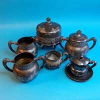 Antique 6 pc Royal Mfg Co Triple Plate Silver Etched Flowers Tea Vtg Early 1900s