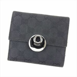 Gucci Wallet Purse G logos Black Woman unisex Authentic Used T8462