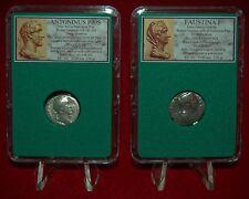 Ancient Roman Empire 2 Coins ANTONINUS PIUS + His Wife FAUSTINA I Silver Denarii