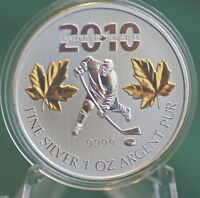 2010 CANADA $5 Gold plated Hockey Silver Maple Leaf from 3 coin Olympic set