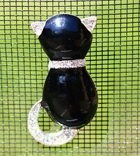 ROMAN signed black cat with clear rhinestones tail collar and ears  BROOCH