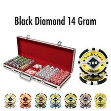 500 Black Diamond 14g Clay Poker Chips Set with Black Aluminum Case - Pick Chips