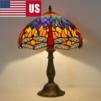 "Tiffany Handpainted Dia 12"" Stained Glass Blue/Green Dragonfly Table Lamp US"