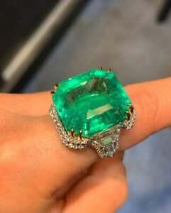Art Deco Fine Design With 31.78CT Colombian Emerald & Fancy Cut CZ Vintage Ring