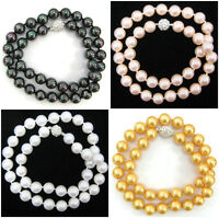 """Genuine 8mm 10mm 12mm Round Akoya Shell Pearl Knotted Beaded Necklace 18"""" AAA"""