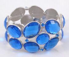 Gorgeous New  Blue Rhinestone Silvertone Bangle Stretch Bracelet #B1306