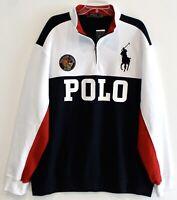 Polo Ralph Lauren Big & Tall Mens Blue White Crest 1/2 Zip Sweatshirt NWT 2XLT