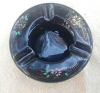 Vintage Japan Black Ceramic Ashtray