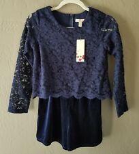 NWT Speechless Girls Navy Blue Lace Velvet Long Sleeve Romper Size Large