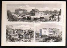 Ruines autour de Paris-Fort ISSY-Parc de St CLOUD 1871 Victorian gravures