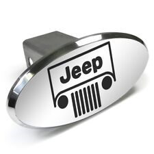 Jeep Grill Engraved Oval Chrome Aluminum Tow Hitch Cover