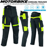 Mens HiVis Motorbike, Motorcycle Trousers, Cordura Textile CE Approved Armour