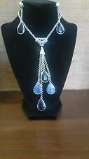 jewelry set 950 silver - black and blue drop