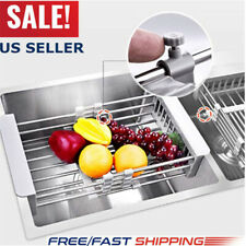 Stainless Steel Dish Drying Rack Telescopic Kitchen Sink Organizer Filter Shelfs