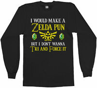 Zelda Pun Try And Force It Men's Long Sleeve T-Shirt Funny Video Game