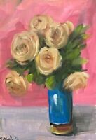 Original oil painting art floral vintage style shabby chic a vase of flower