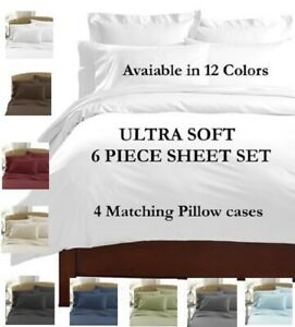 6 PIECE DEEP POCKET BAMBOO EGYPTIAN COMFORT 2100 SERIES SUPER SOFT BED SHEET SET