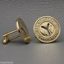 "Subway Token Cufflinks, New York City NYC Vintage Brass ""Large Y Cutout"""