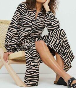 JD WILLIAMS LADIES ZEBRA PRINT MAXI SHIRT DRESS BROWN NEW (ref 714R)