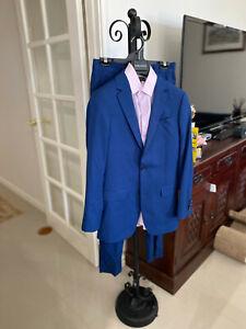 Tarocash Men's Slim 2 Button Check Suit Blue Size 32 WORN ONCE! WITH SHIRT & TIE