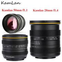 Kamlan 50mm f1.1/28mm f1.4 APS-C Large Aperture Manual Focus Lens for Cameras DH