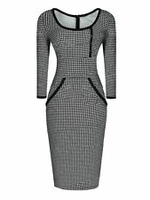 Houndstooth Col Rond Robe moulante, taille M