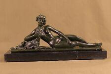 Handmade bronze sculpture  Young 1920/30 France Bruns L. Signed Deco ArtDB